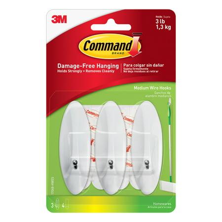 Command Wire Hooks, White, Medium, 3 Hooks, 4 Strips/Pack