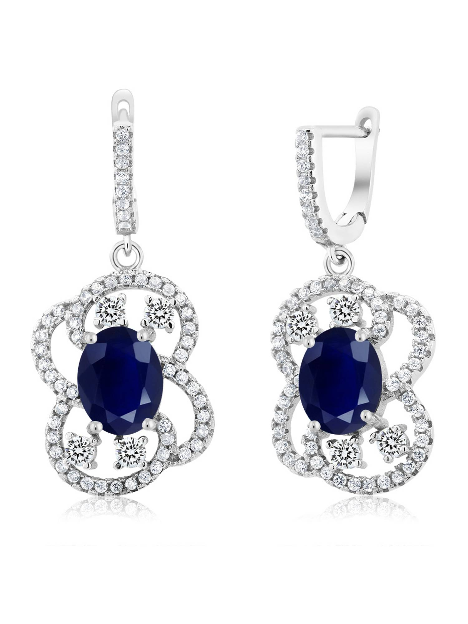 6.39 Ct Oval Blue Sapphire 925 Sterling Silver Earrings
