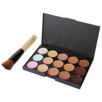 15 Color Concealer Palette Makeup Set Brush Sponge Puff Face Contour Cream