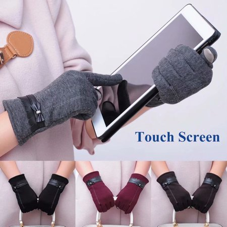 Akoyovwerve Women's Gloves, Winter Windproof Touchscreen Gloves Thickened Leather Driving Gloves with Bowknots for Smart Phone & Tablet,Black