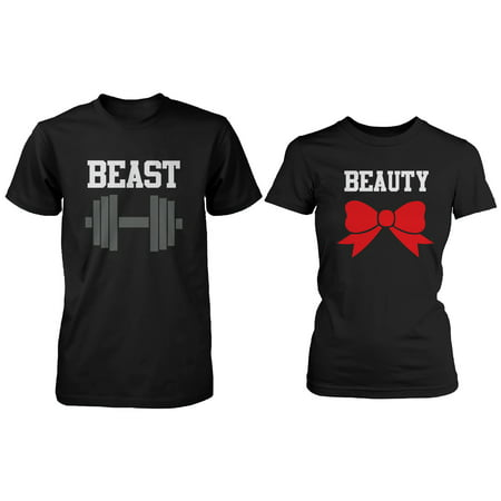 Beauty And The Beast Couples (BLACK Beauty & Beast Couple T-shirt (Two Shirts)  Matching Couple)