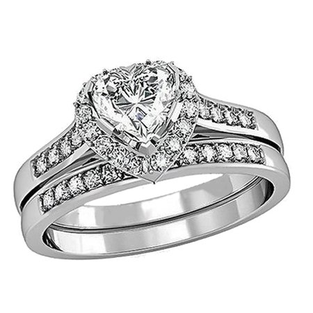 1.65Carat TCW Heart Cut CZ 925 Sterling Silver Wedding Rings Bridal Set - Heart Shaped Bridal Set