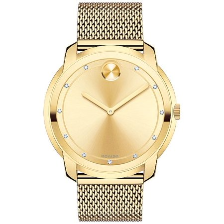 Movado Bold Gold Sunray Dial Unisex Gold Tone Mesh Watch ()