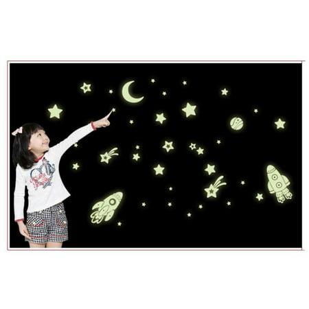 Mosunx Cartoon Home Decals Decor Glow In The Dark Wall Sticker Cosmic Star Spaceship - Glow Decor