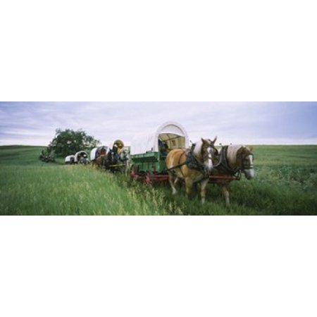 Historical reenactment Covered wagons in a field North Dakota USA Canvas Art - Panoramic Images (18 x 7)