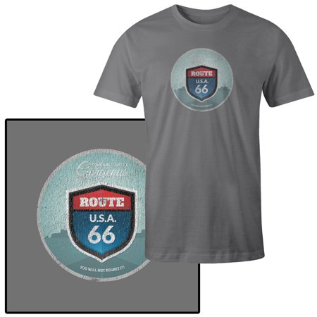 Men's Come and Visit Route 66 Vector Word Illustration T-Shirt