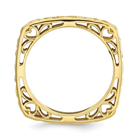 Sterling Silver Stackable Expressions Polished Gold-plate Square Ring Size 6 - image 2 of 3