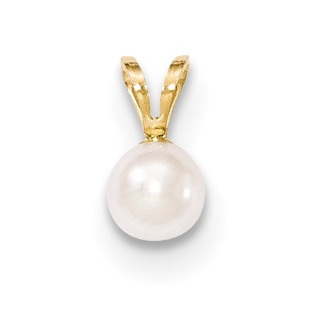 14k Yellow Gold 6mm Round White Saltwater Akoya Cultured Pearl Pendant Charm Necklace Fine Jewelry For Women Gift Set