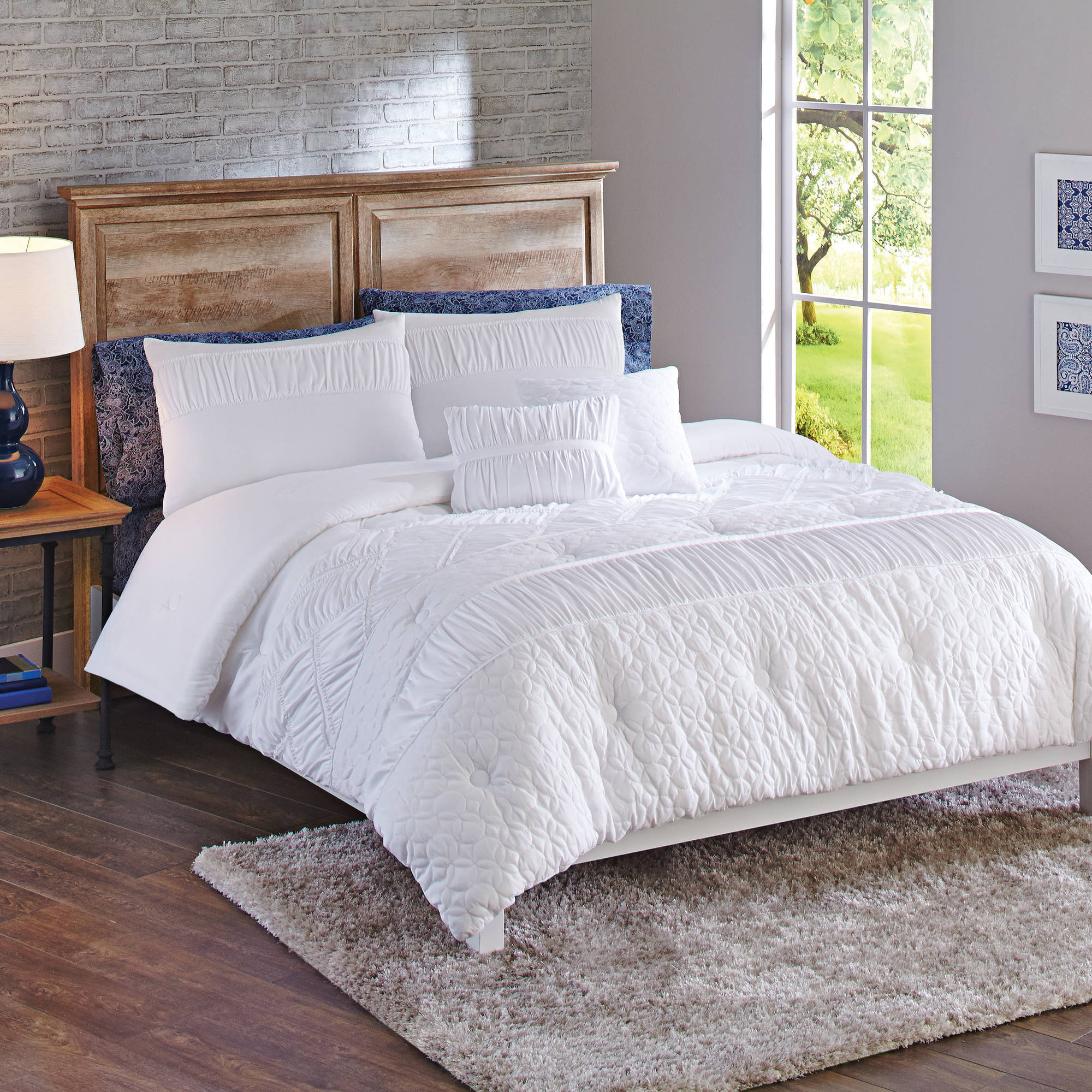 Better Homes & Gardens Full or Queen Textured Classic Comforter Set, 5 Piece