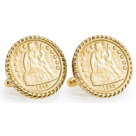 Gold-Layered Seated Liberty Silver Dime Goldtone Rope Bezel Coin Cuff Links