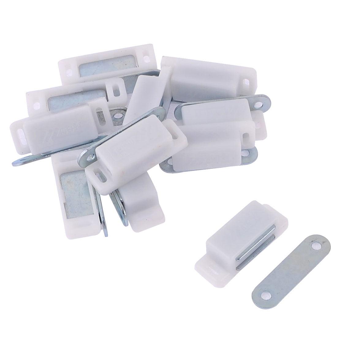Unique Bargains 11pcs Cabinet Glass Door White Plastic Casing Metal Plate Magnetic Catch Latch