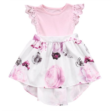 Big Sister Little Sister Floral Print Lace Ruffle Sleeve Romper&Dress Daily Family Clothing Outfit