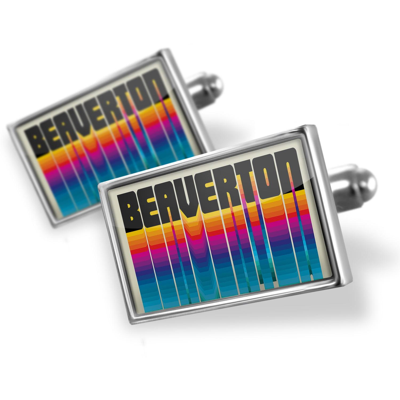 Cufflinks Retro Cites States Countries Beaverton - NEONBLOND