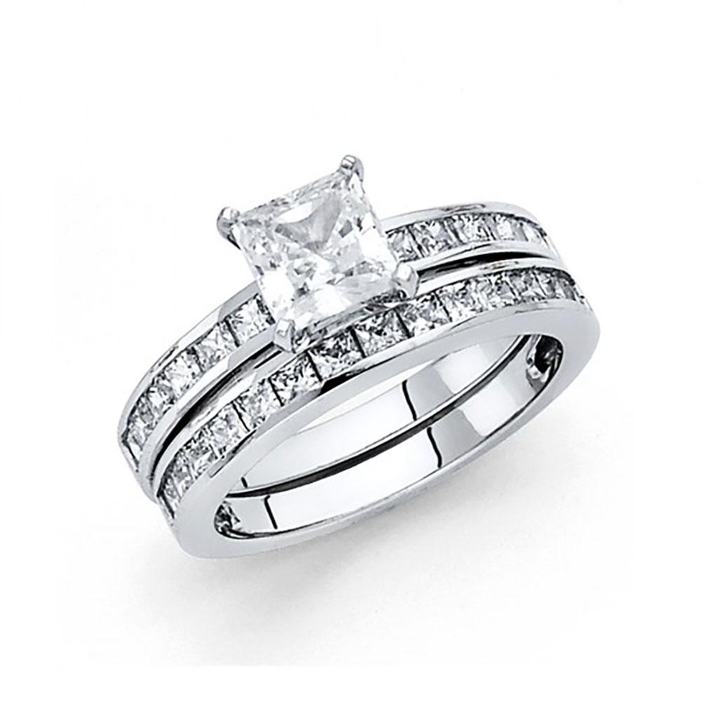 14k White Gold Princess Cut CZ Channel Set Engagement Wed...