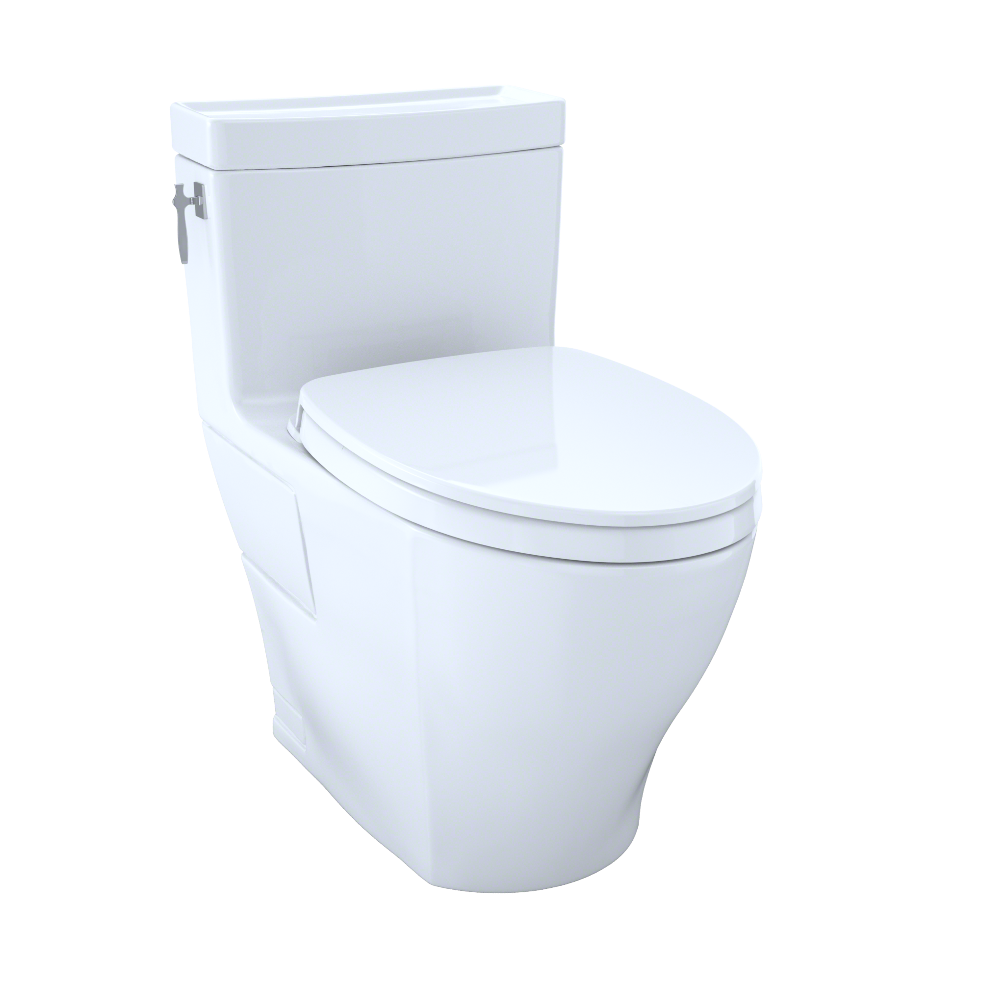 TOTO Aimes WASHLET+ One-Piece Elongated 1.28 GPF Universal Height Skirted Toilet with CeFiONtect, Cotton White - MS626124CEFG#01