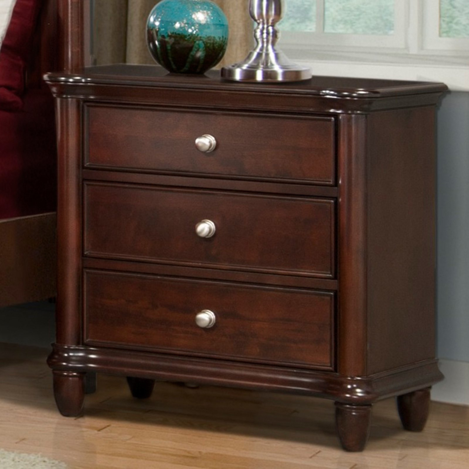 Picket House Furnishings Hamilton 3 Drawer Nightstand - Warm Brown Cherry