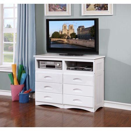 American Furniture Classics Model 0271, Solid Pine Entertainment Dresser with Six Drawers and Two Component Areas in White ()