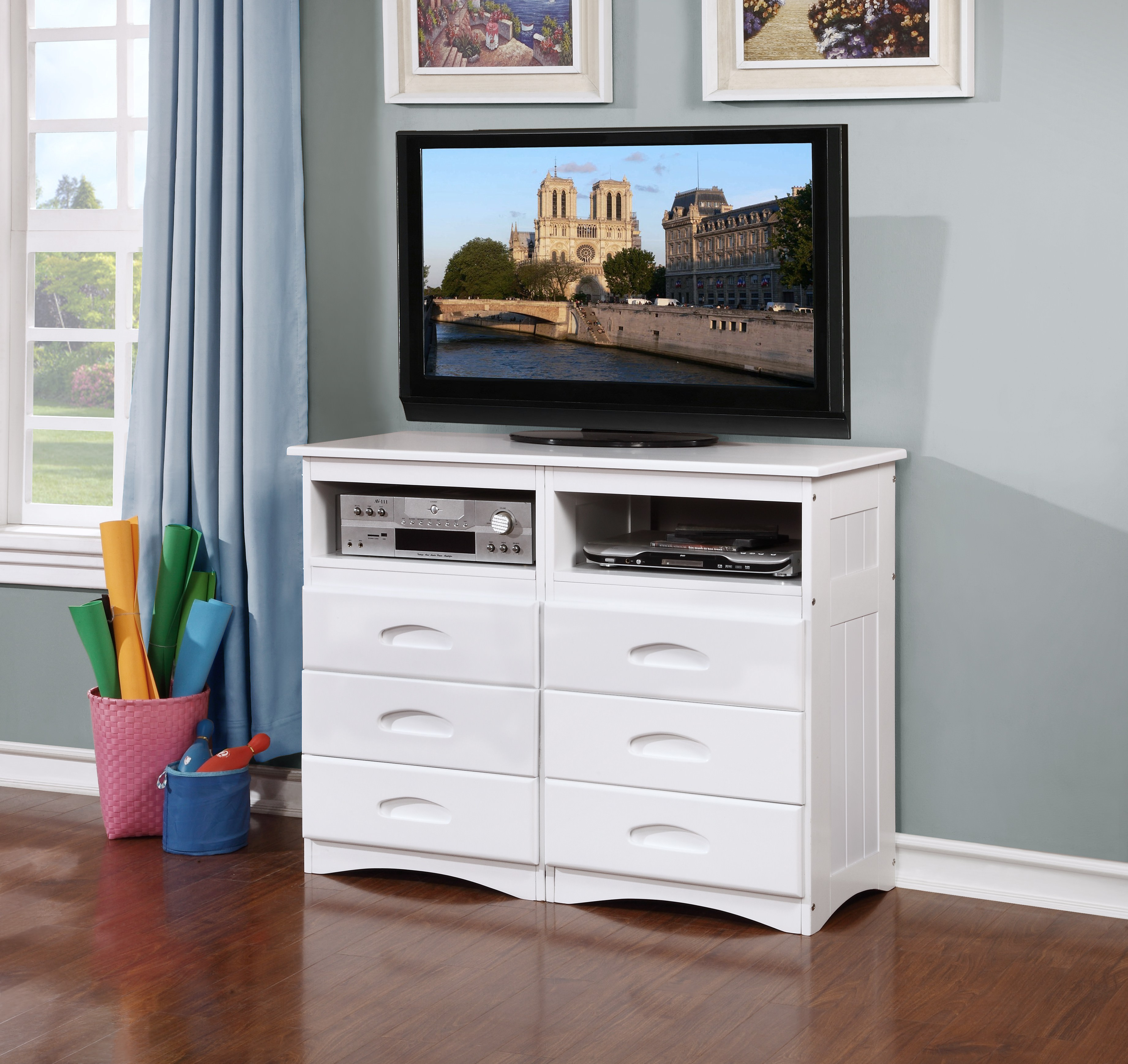 American Furniture Classics Model 0271, Solid Pine Entertainment Dresser with Six Drawers and Two Component Areas in White