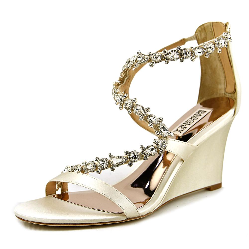 Badgley Mischka Bennet Women Open Toe Leather Ivory Wedge Sandal by Badgley Mischka