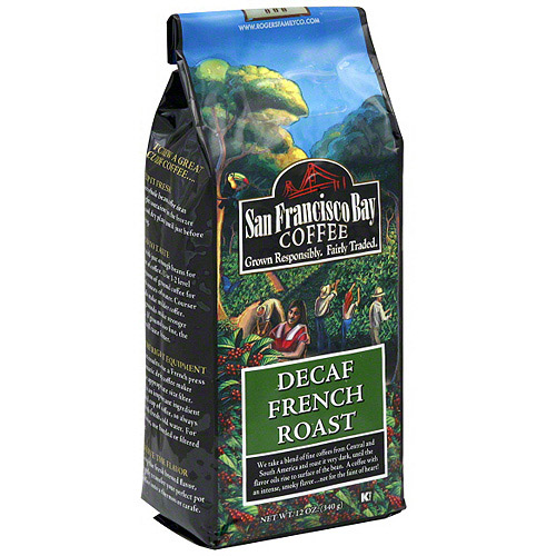 San Francisco Bay Coffee Decaf French Roast Whole Bean Coffee, 12 oz (Pack of 6)