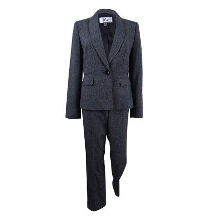 Le Suit Women's One-Button Pantsuit (6, Black/White)