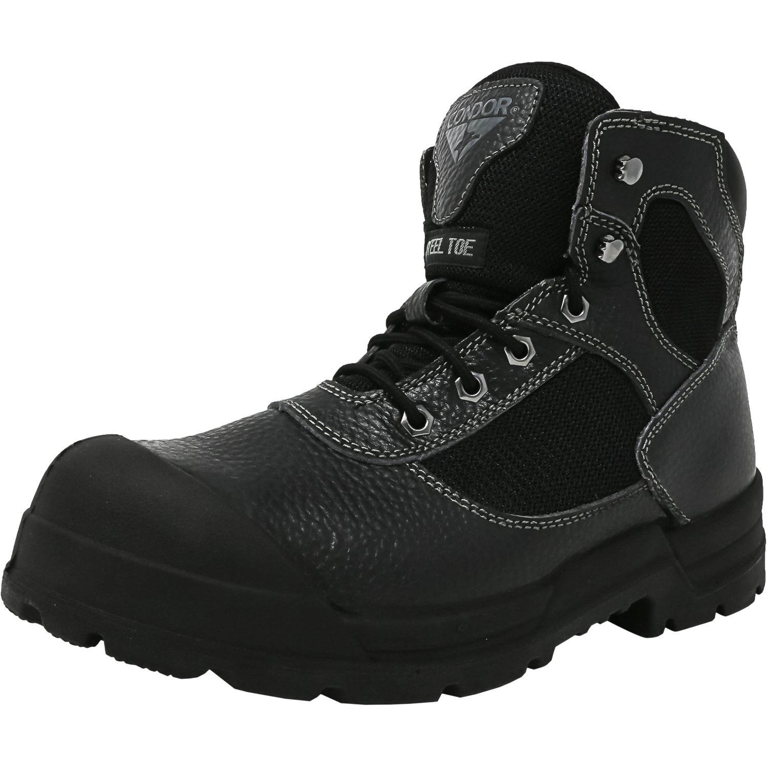 Condor Men's 6 Inch Steel Toe Work Boot Black High-Top Leather - 9M