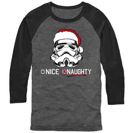 Star Wars Men's Christmas Stormtrooper Naughty List Baseball Tee - Baseball Christmas