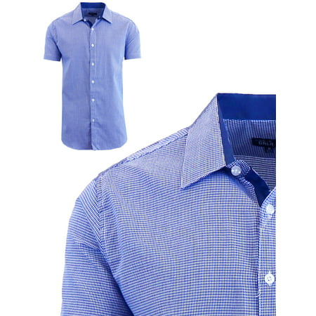 Mens Short Sleeve Casual Dress Shirts Slim Fit Button Down Houndstooth ()