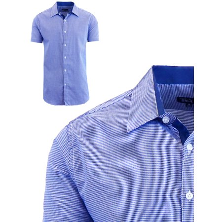 Mens Short Sleeve Casual Dress Shirts Slim Fit Button Down