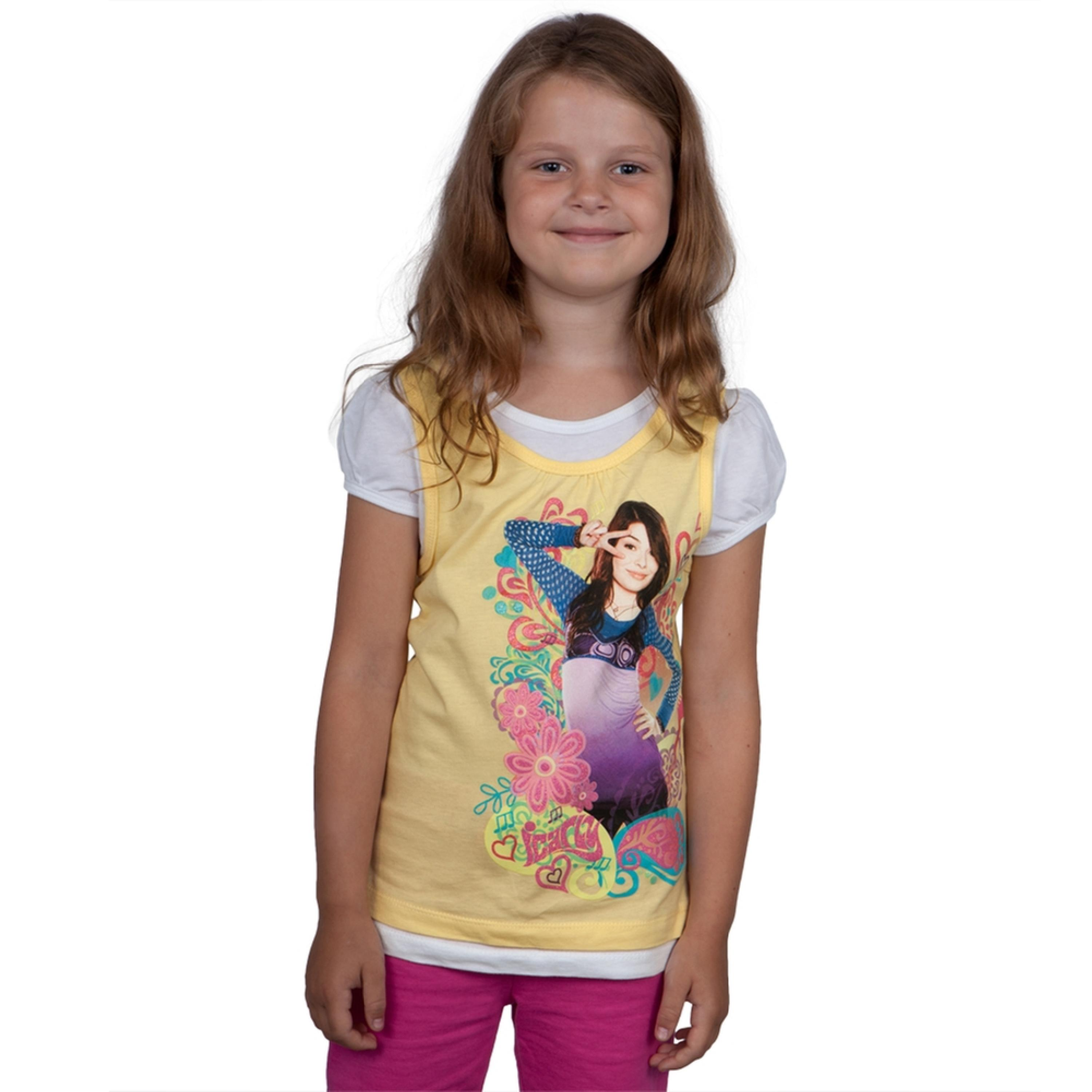 iCarly - Peace Sign Girls Juvy Short Sleeve 2fer