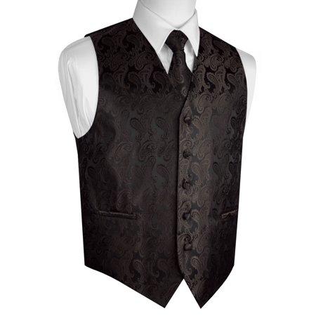 Italian Design, Men's Tuxedo Vest, Tie & Hankie Set - Chocolate