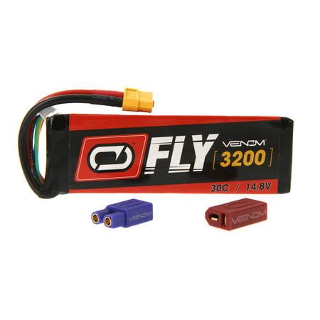 Venom Fly 30C 4S 3200mAh 14.8V LiPo Battery with UNI 2.0 Plug (XT60/Deans/EC3) - Compare to E-flite EFLB32004S30 (Lipo Chassis)