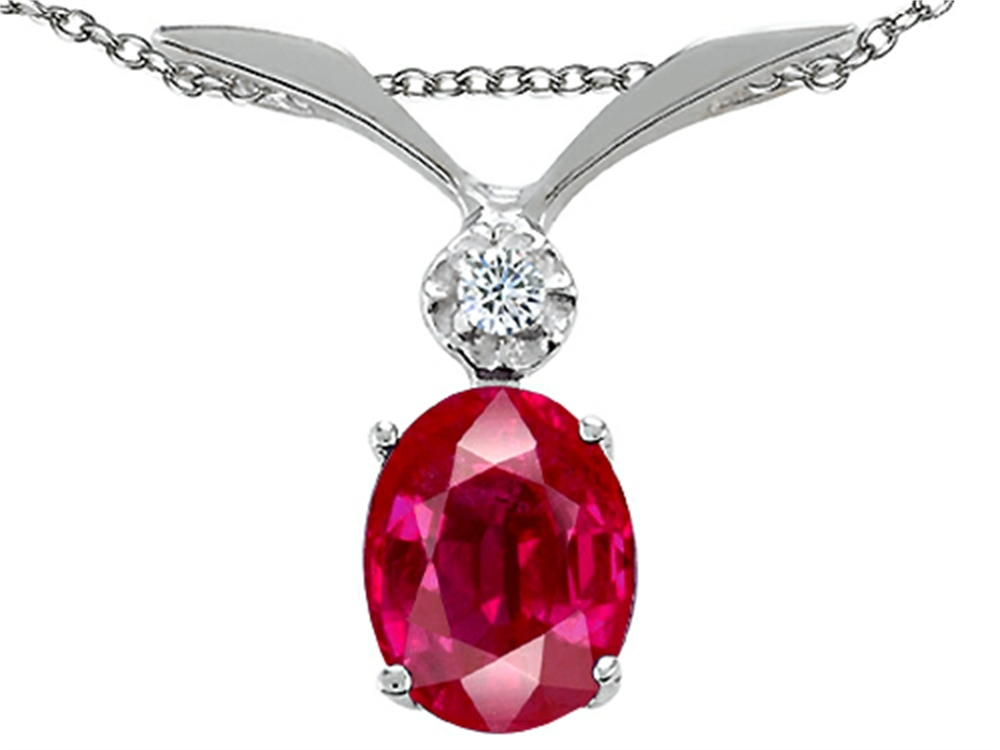 Tommaso Design Oval 7x5mm Created Ruby Pendant Necklace in 10 kt White Gold by