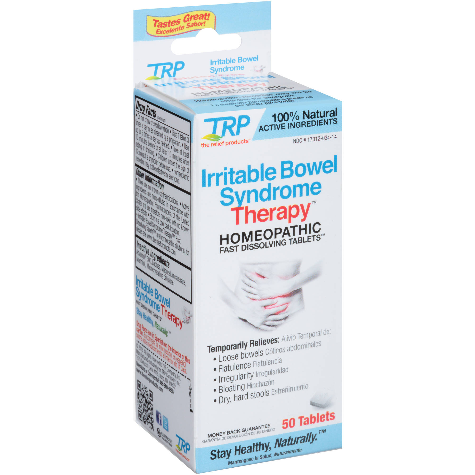 TRP Irritable Bowel Syndrome Therapy Homeopathic Fast Dissolving Tablets, 50 count