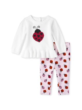 The Children's Place Baby Girl Long Sleeve Ladybug Graphic Ruffle Sweater Legging 2 Piece Set