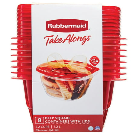 Rubbermaid TakeAlongs Deep Rectangle Food Storage Container, 5.2 Cup, 8-Pack, Red