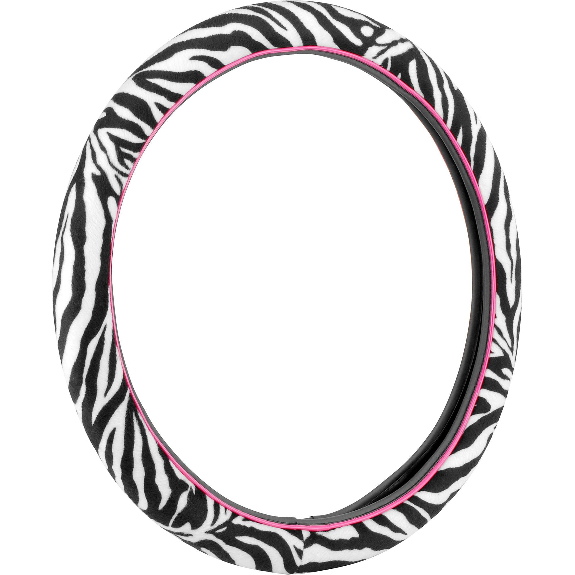 Auto Drive Steering Wheel Cover, Zebra/Pink