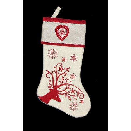 "17"" White Decorative Reindeer with Snowflakes and Heart Christmas Stocking"