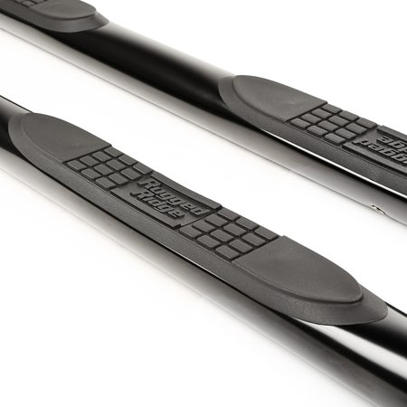 Rugged Ridge 11591.11 Nerf Bar Side Tube Step With Step Pads; 3 Inch Round Bent; Powder Coated; Black; Steel; With End Caps - image 1 of 2