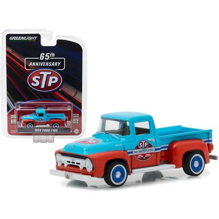 """1954 Ford F100 Blue & Orange STP """"65th Anniversary"""" Anniversary Collection Series 6 1/64 Diecast Model Car by Greenlight"""