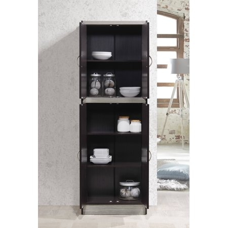 Hodedah 4-Door Kitchen Pantry with 4-Shelves, Chocolate-Grey