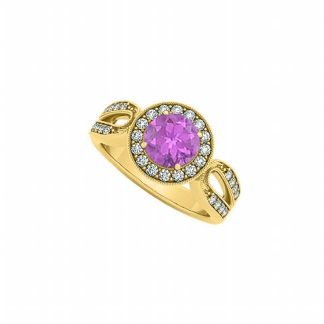 Fine Jewelry Vault UBNR83524AGVYCZAM February Birthstone Amethyst & CZ Ring - 1.50 CT TGW , 32 Stones