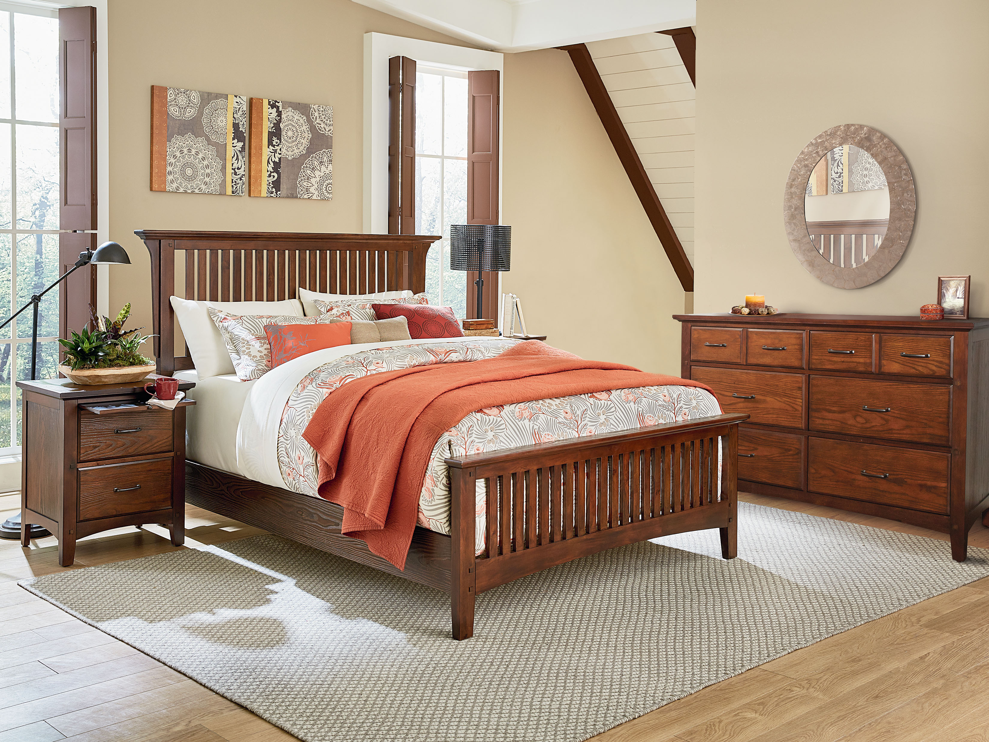 Modern Mission King Bedroom Set With 2 Nightstands And 1