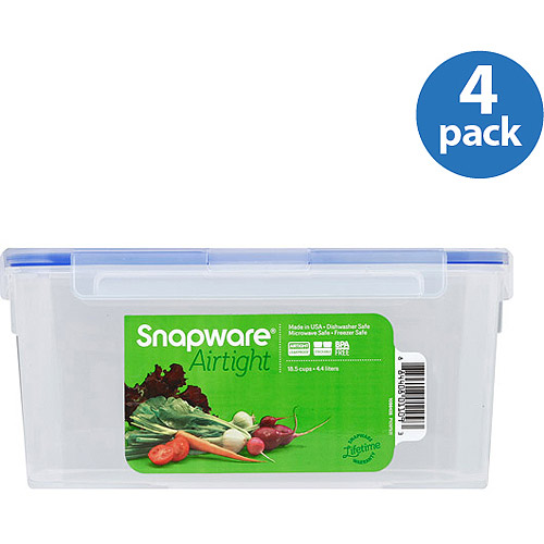 Snapware Airtight Plastic 18.5-Cup Rectangle Food Storage Container, 4-Pack
