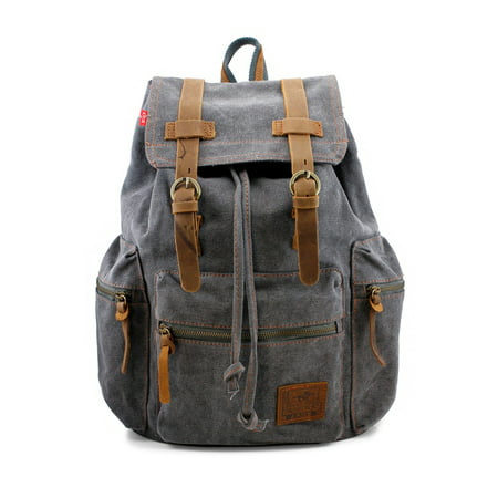 Men's Outdoor Sport Vintage Canvas Military (Brown Mens Backpack)