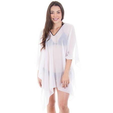 5a721c94110cf Simplicity - Simplicity Women s Sheer Chiffon Caftan Wrap Poncho Tunic  Top