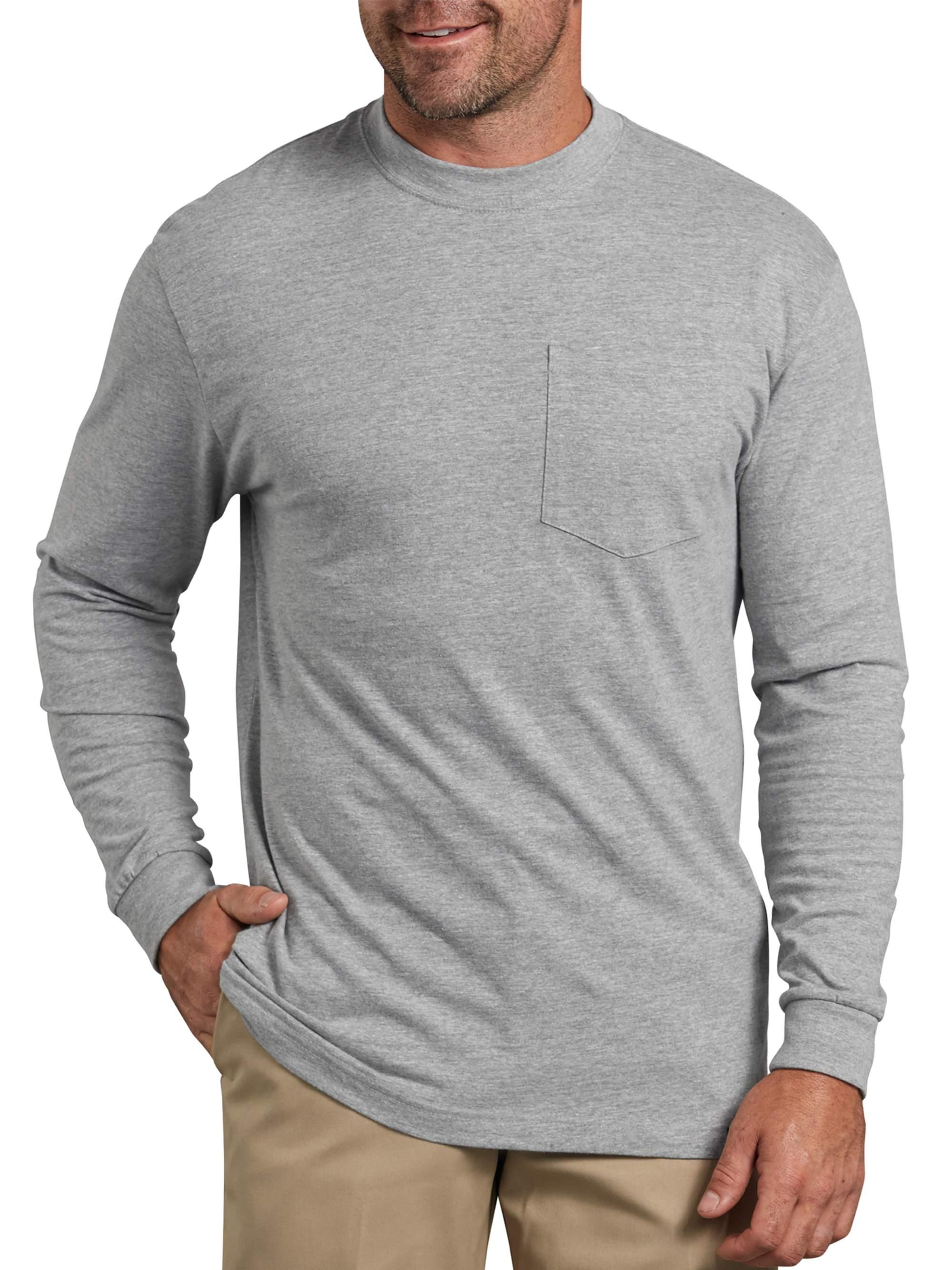 Big Men's Heavy Weight Long Sleeve Pocket T-Shirt, 2-Pack