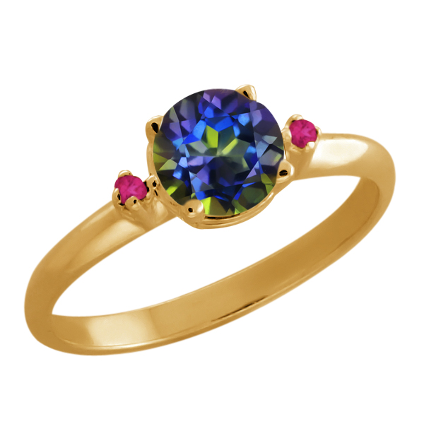 0.82 Ct Round Blue Mystic Topaz Pink Sapphire Gold Plated Sterling Silver Ring by