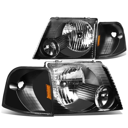 For 2002 to 2005 Ford Explorer 4pcs Black Housing Headlight+Amber Corner Signal Lamp 03 04 Left+Right - Ford Explorer Black Headlight