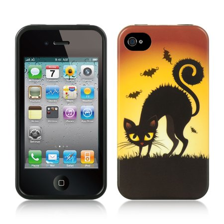 Insten TPU Imd Halloween Design Rubber Skin Gel Back Shell Case For Apple iPhone 4 / 4S - Cat](Halloween Wallpapers For Iphone 4)